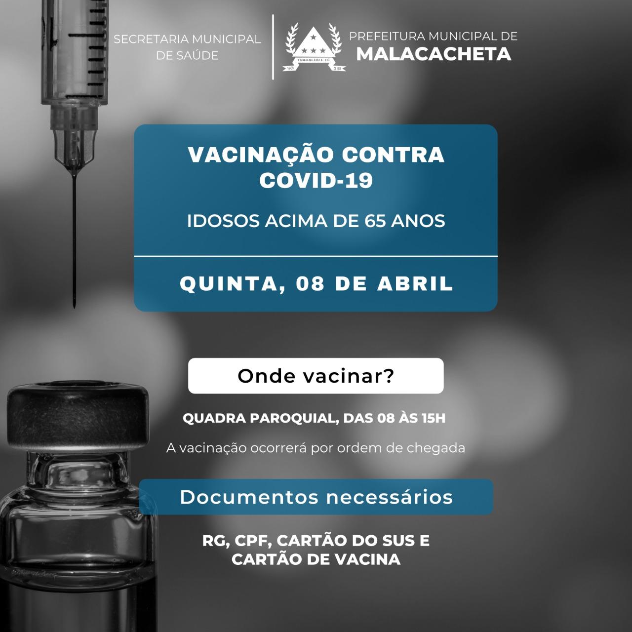VACINAÇÃO CONTRA COVID-19 DE IDOSOS ACIMA DE 65 ANOS
