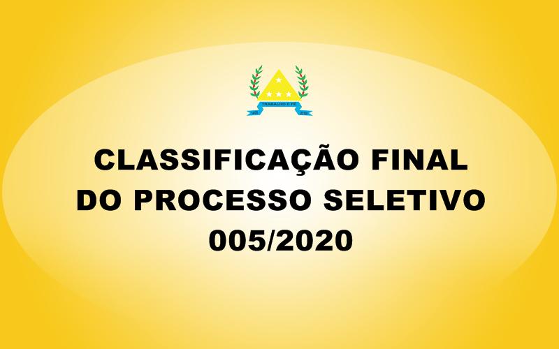 CLASSIFICAÇÃO FINAL DO PROCESSO SELETIVO 005/2020