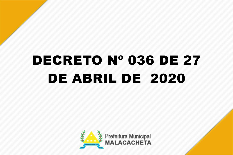 DECRETO Nº 036 DE  2020