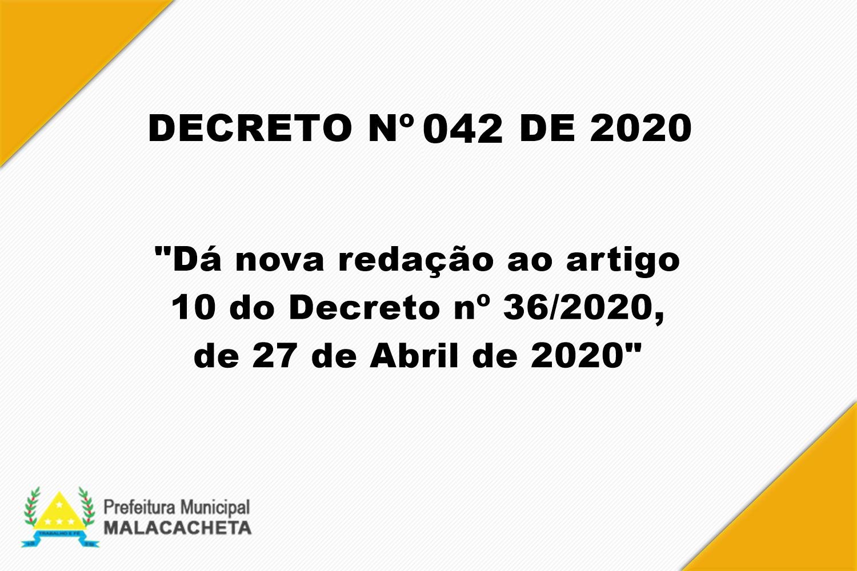 DECRETO Nº 042 DE 14 DE MAIO DE 2020