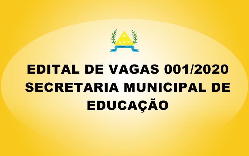 EDITAL DE VAGAS Nº 01/2020 - SECRETARIA MUNICIPAL DE...