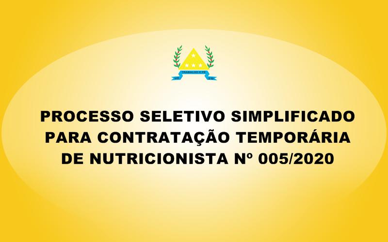 PROCESSO SELETIVO 005/2020