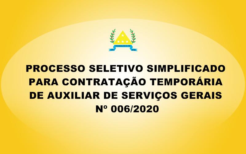 PROCESSO SELETIVO 006/2020