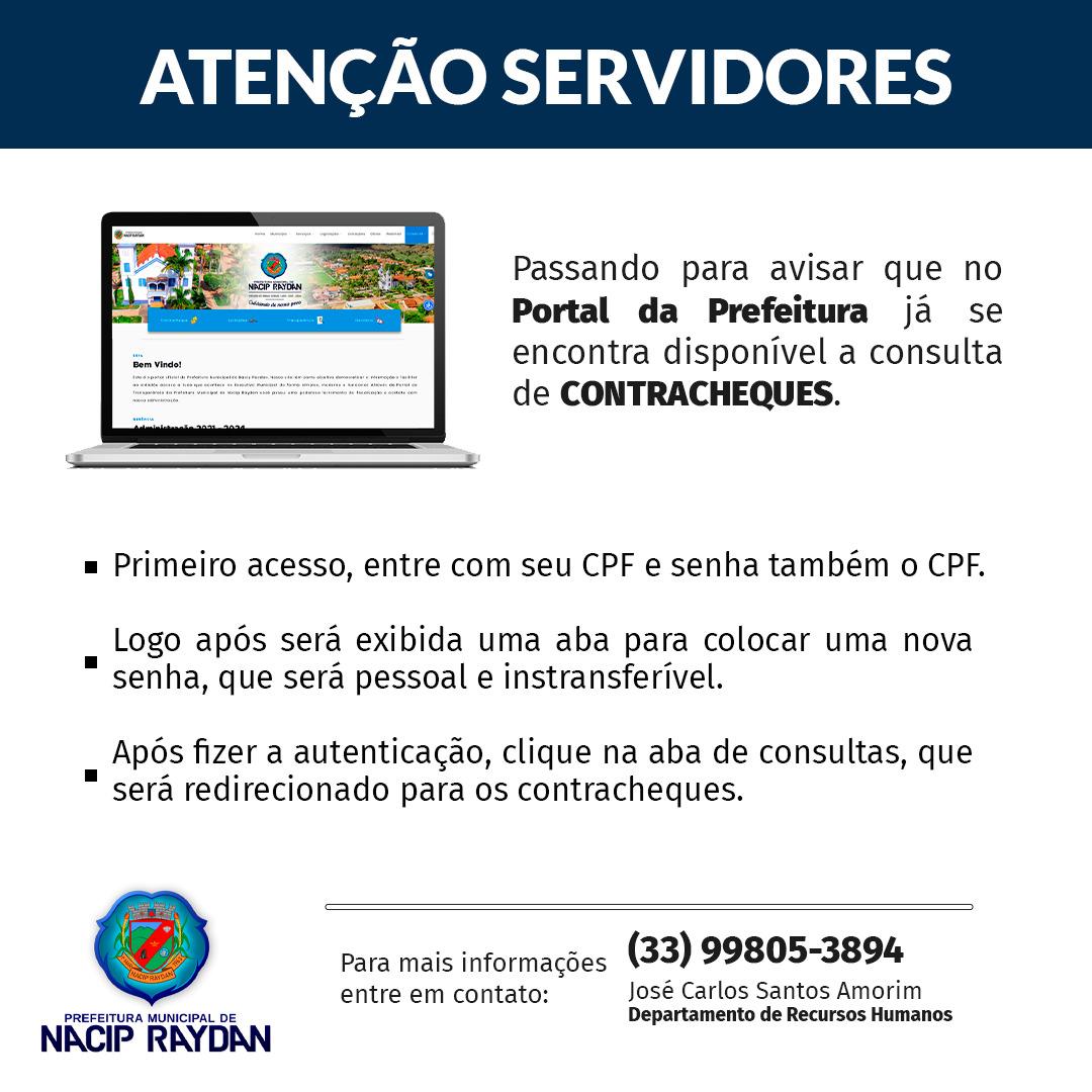 ATENÇÃO SERVIDORES - ACESSE AOS CONTRACHEQUES NO SITE