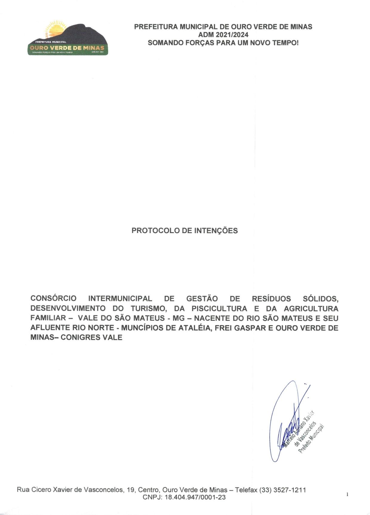 PROTOCOLO DE INTENÇÕES, CONIGRES-VALE