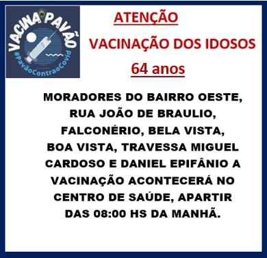 VACINAÇÃO DOS IDOSOS - 64 ANOS
