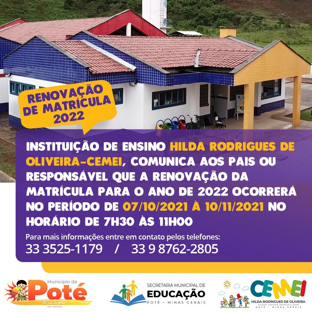 RENOVAÇÃO DE MATRÍCULA 2022
