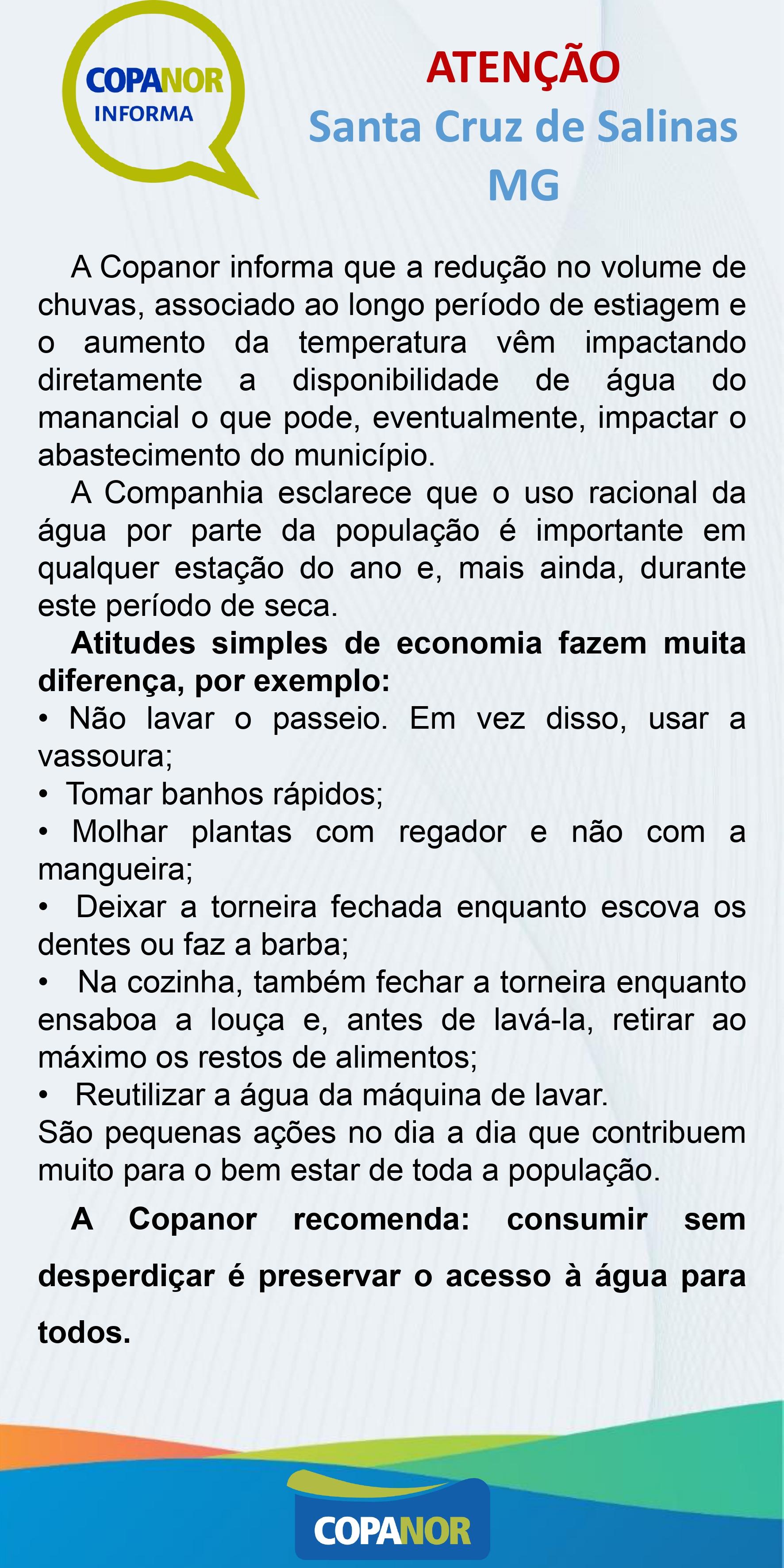 ATENÇÃO - INFORMATIVO COPANOR