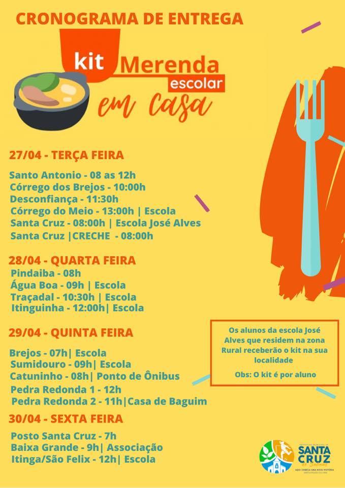 CRONOGRAMA DE ENTREGA - KIT MERENDA ESCOLAR EM CASA