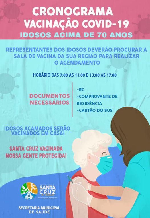 CRONOGRAMA DE VACINAÇÃO COVID-19 IDOSOS ACIMA DE 70 ...