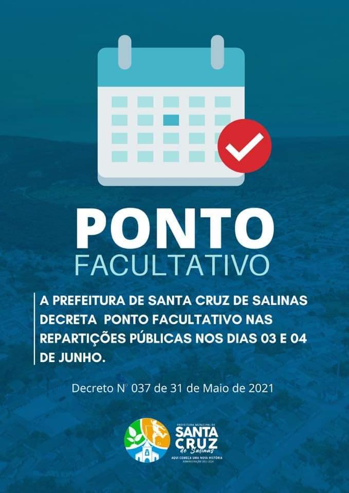 PONTO FACULTATIVO NAS REPARTIÇÕES PÚBLICAS NOS DIAS ...
