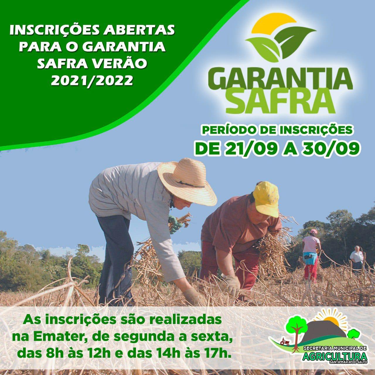 INSCRIÇÕES ABERTAS PARA O GARANTIA SAFRA VERÃO 2021/...