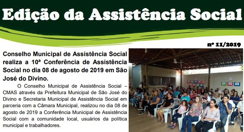 Conselho Municipal de Assistência Social realiza a 10ª Conferência de Assistência Social no dia 08 de agosto de 2019 em São José do Divino.