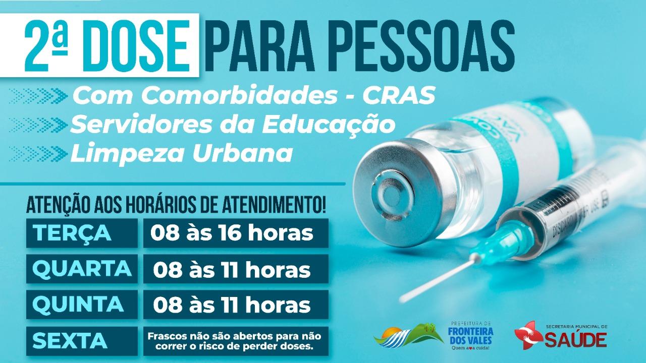 VACINAÇÃO CONTRA COVID-19 SEGUNDA DOSE 31/08/2021