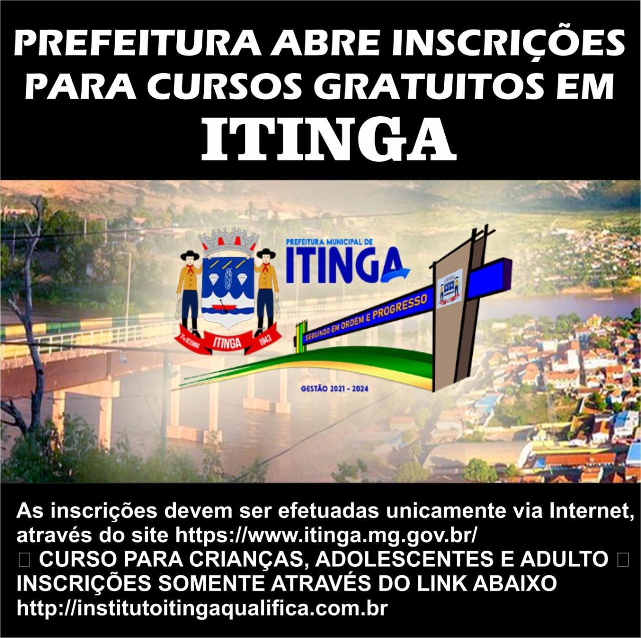 CURSOS GRATUITOS EM ITINGA-MG