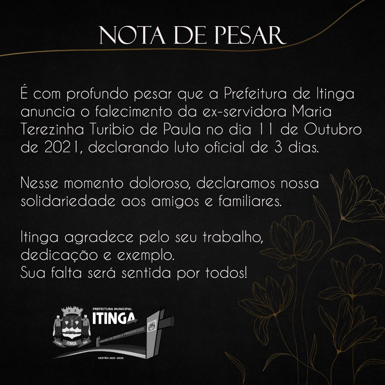 NOTA DE PESAR - 13/10/2021