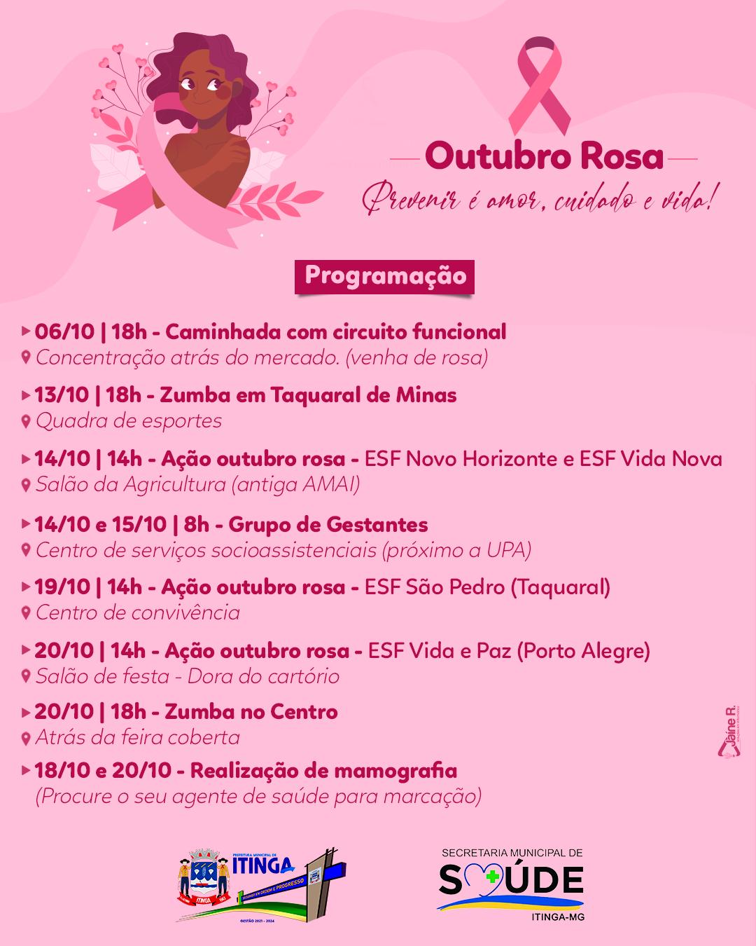 OUTUBRO ROSA - PROGRAMAÇÃO