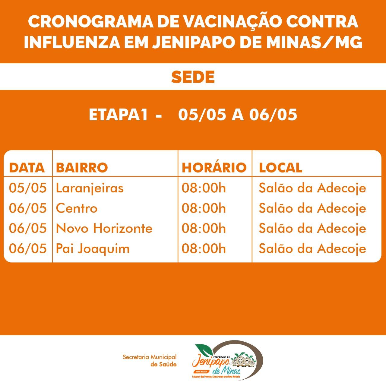 CRONOGRAMA DE VACINAÇÃO CONTRA INFLUENZA EM JENIPAPO...