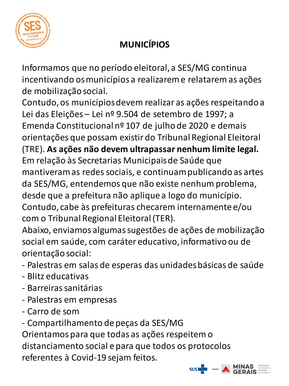COMUNICADO - A SES/MG CONTINUA INCENTIVANDO OS MUNIC...