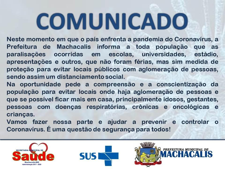 COMUNICADO - PREVENÇÃO CONTRA O CORONAVÍRUS