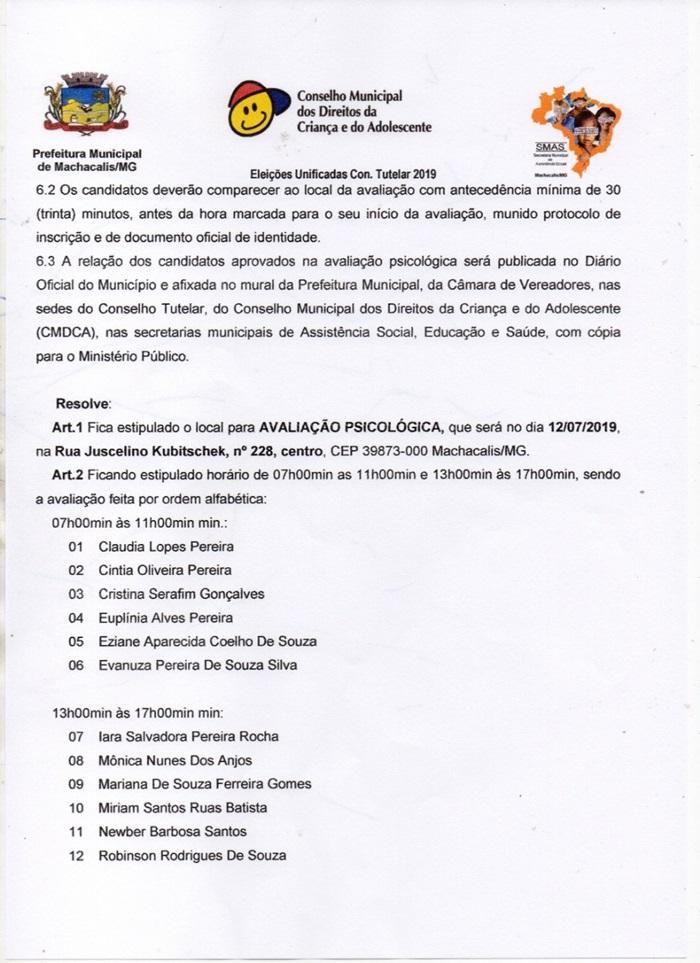 DIVULGAÇÃO DO LOCAL E HORÁRIO DA AVALIAÇÃO PSICOLÓGICA DOS APTOS AO PROCESSO DE ESCOLHA DO CONSELHO TUTELAR 2019