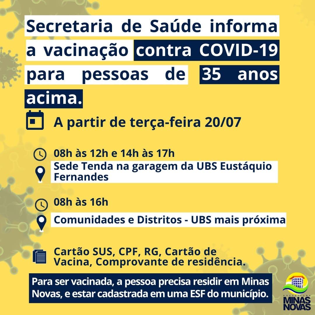 CAMPANHA DE VACINAÇÃO COVID-19 PARA PESSOAS DE 35 AN...
