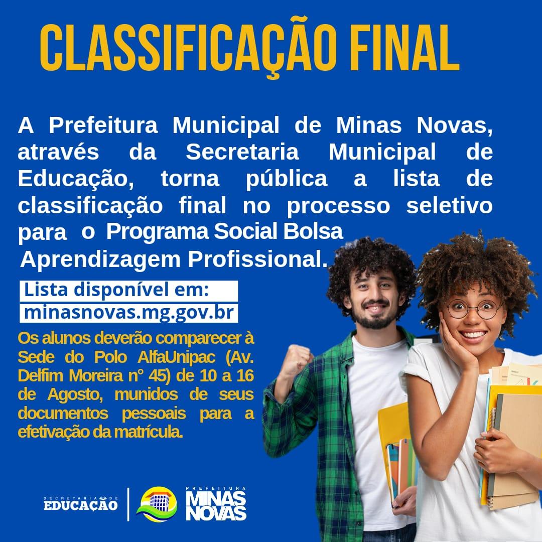 CLASSIFICAÇÃO FINAL - PROGRAMA SOCIAL BOLSA APRENDIZ...