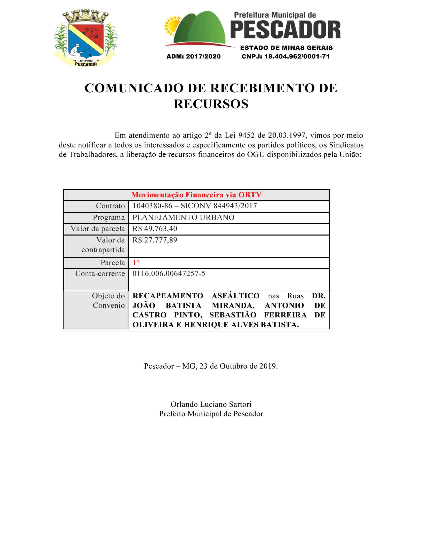COMUNICADO DE RECEBIMENTO DE RECURSOS