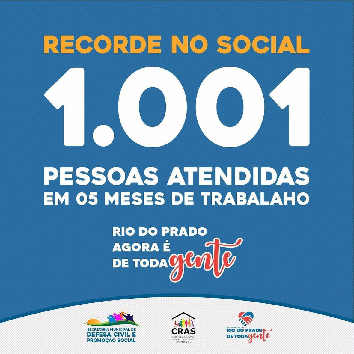 RECORDE NO SOCIAL 1.001 PESSOAS ATENDIDAS EM 05 MESE...