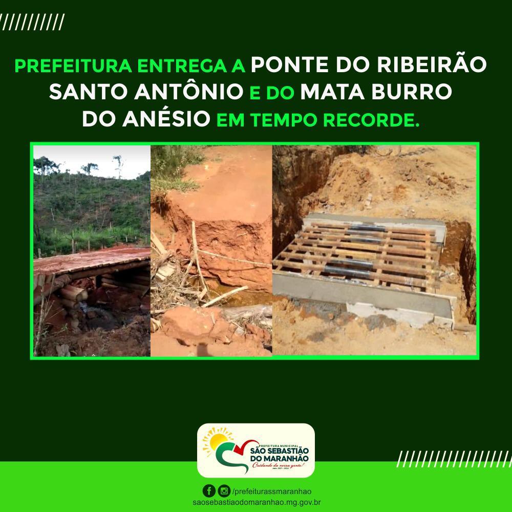 CONSTRUÇÃO DA PONTE DO RIBEIRÃO SANTO ANTÔNIO E DO M...