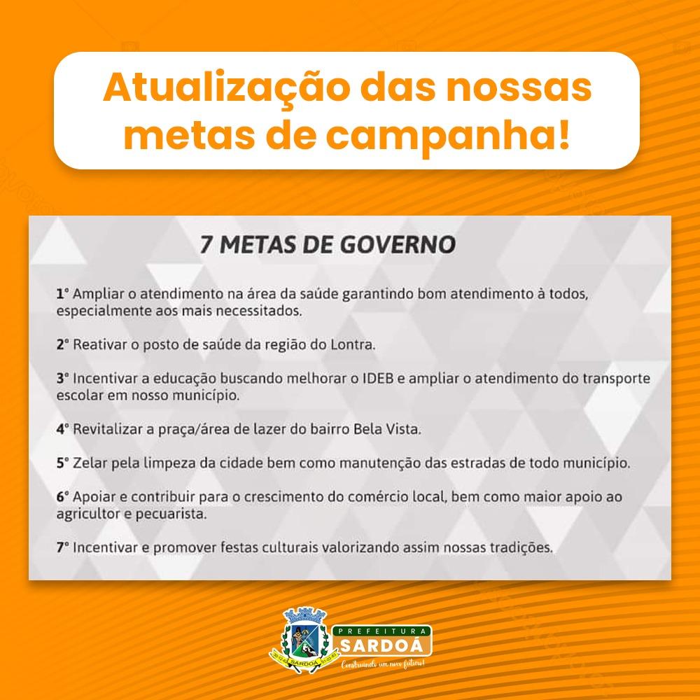 ATUALIZAÇÃO DAS NOSSAS  METAS DE CAMPANHA