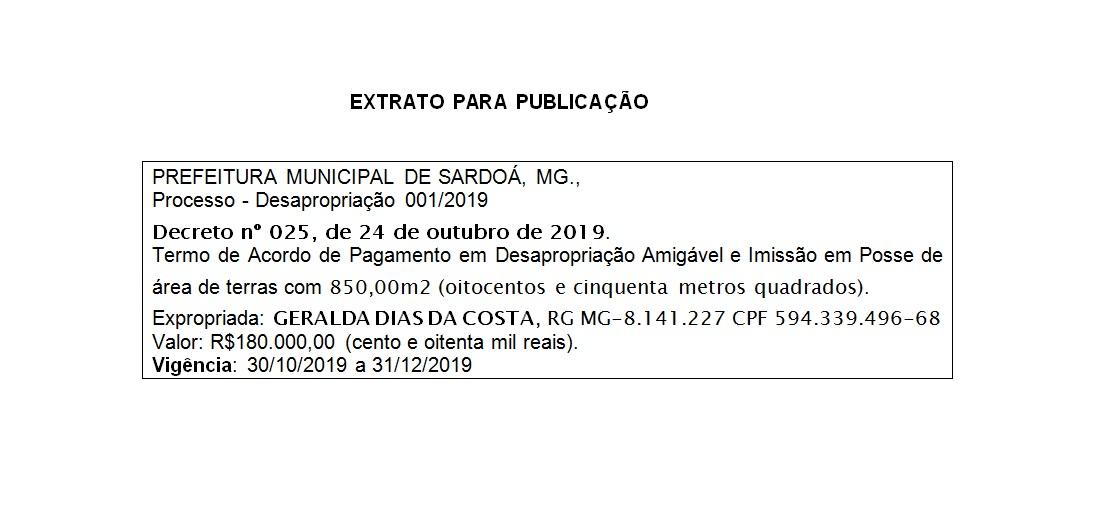 PROCESSO DE DESAPROPRIAÇÃO 001/2019